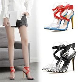 Ericdress Buckle Chunky Heel Pointed Toe Color Block Sandals