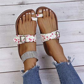 Ericdress Slip-On Appliques Toe Ring Rubber Slippers