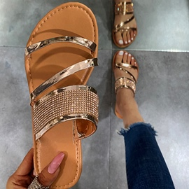 Ericdress Rhinestone Slip-On Flat With Rubber Slippers