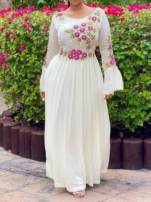 Ericdress Long Sleeve Embroidery Ankle-Length A-Line Floral Women's Plus Size Dress