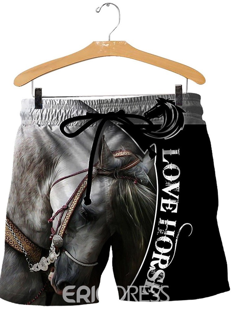 Ericdress Loose Patchwork Letter Men's Casual Lace-Up Shorts
