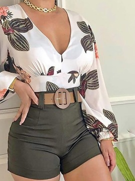 Ericdress Floral Shorts Patchwork V-Neck Women's Two Piece Sets