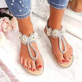 Ericdress Thong Flat With Elastic Band Beads Sandals