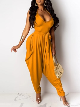 Ericdress Full Length Plain Fashion High Waist Loose Women's Jumpsuit