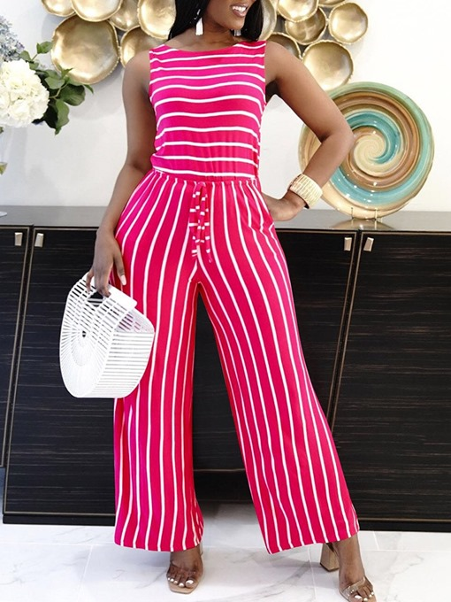 Ericdress Stripe Office Lady Full Length Mid Waist Slim Women's Jumpsuit
