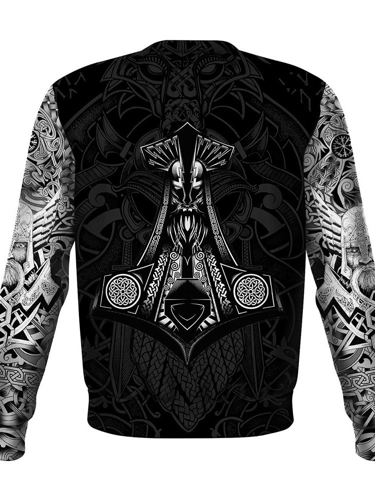 Ericdress Casual Print Round Neck Straight Long Sleeve Men's T-shirt