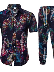 Ericdress Casual Print Floral Mens Summer Outfit