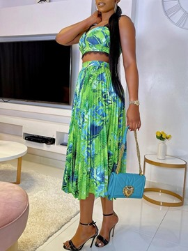 Ericdress Fashion Vest Print Pleated Women's Two Piece Sets