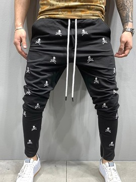 Ericdress Print Skull Lace-Up Men's Casual Pants