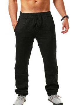Ericdress Straight Thin Plain Mid Waist Lace-Up Casual Men's Pants