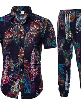 Ericdress Casual Print Floral Men's Summer Outfit