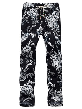 Ericdress Thin Print Color Block Mid Waist Men's Casual Pants