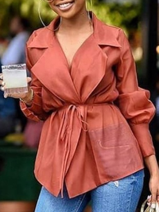 Ericdress Plain Lapel Lantern Sleeve Mid-Length Women's Long Sleeve Blouse