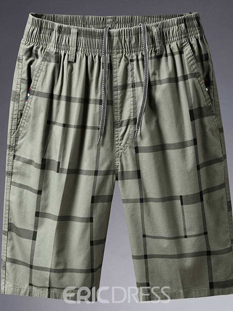 Ericdress Lace-Up Plaid Loose Lace-Up Mid Waist Men's Shorts