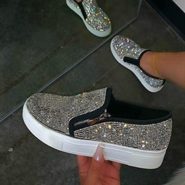 Ericdress Rhinestone Slip-On Low-Cut Upper Plain Sneakers