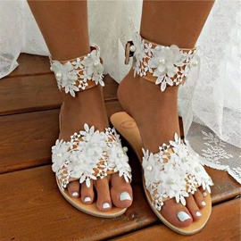 Ericdress Appliques Slip-On Flat With Floral Slippers
