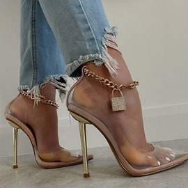 Ericdress Slip-On Pointed Toe Chain Ultra-High Heel(≥8cm) Thin Shoes