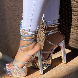 Ericdress Open Toe Chunky Heel Lace-Up Banquet Sandals