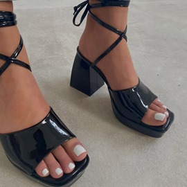 Ericdress Lace-Up Open Toe Chunky Heel Cross Strap Sandals
