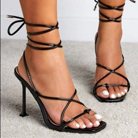 Ericdress Lace-Up Square Toe Western Sandals