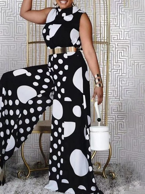 Ericdress Polka Dots Patchwork Full Length Loose Wide Legs Women's Jumpsuit