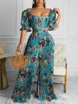 Ericdress Full Length Casual Floral Loose Straight Women's Jumpsuit