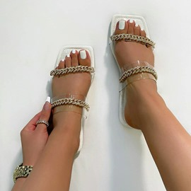 Ericdress Chain Flip Flop Flat With England Slippers