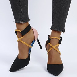 Ericdress Pointed Toe Buckle Patchwork Sandals