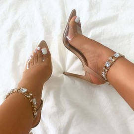 Ericdress Peep Toe Stiletto Heel Buckle Chain Sandals