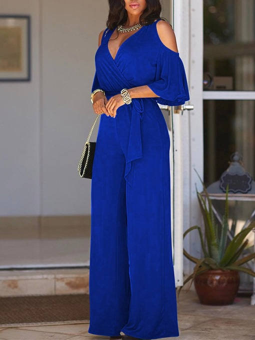 Ericdress Plain Western Full Length Straight High Waist Women's Jumpsuit