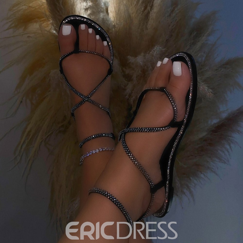 Ericdress Thong Flat With Buckle Plain Sandals