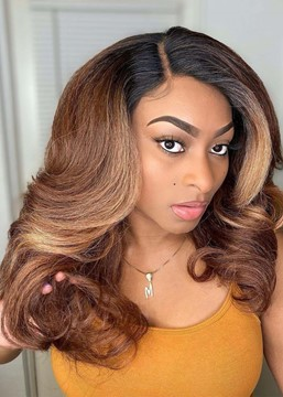 Ericdress African American Women's Ombre Color Wavy Human Hair Lace Front Wigs 18Inch