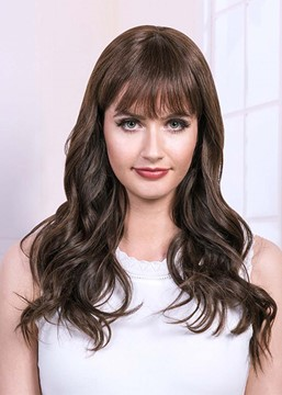 Ericdress Natural Looking Women's Long Length Wavy Human Hair Wigs With Bangs Capless Wigs 26Inch