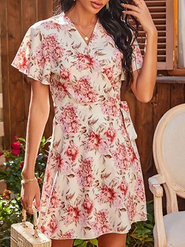 Ericdress Lace-Up V-Neck Above Knee A-Line Pullover Floral Midi Dress