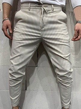 Ericdress Stripe Pencil Pants Lace-Up Four Seasons Mid Waist Men's Casual Pants