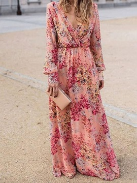 Ericdress Print V-Neck Floor-Length Expansion Floral Maxi Dress Beach Dresses For Women