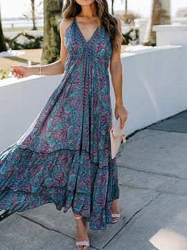Ericdress V-Neck Ankle-Length Print Office Lady Pullover Dress Floral Maxi Dress Beach Dresses For Women