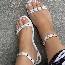 Ericdress Flat With Buckle Round Toe Plain Women's Sandals