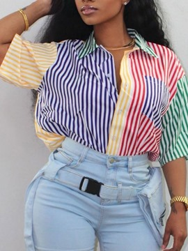 Ericdress Button Stripe Regular Standard Short Sleeve Women's Blouse