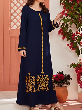 Ericdress Print Ankle-Length Long Sleeve Pullover Dress Plus Size