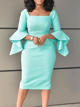 Ericdress Long Sleeve Square Neck Mid-Calf Bodycon Pullover Women's Dress