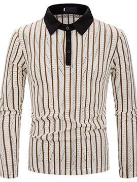 Ericdress Stripe Polo Neck Patchwork Men's Polo Shirt