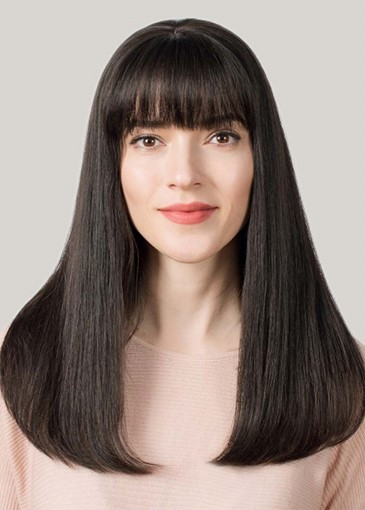 Ericdress Women's Long Straight Bob Hairstyles Straight Human Hair Capless Wigs With Bangs 26Inch