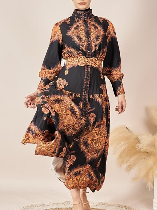 Ericdress Ankle-Length Long Sleeve Print Expansion Dress