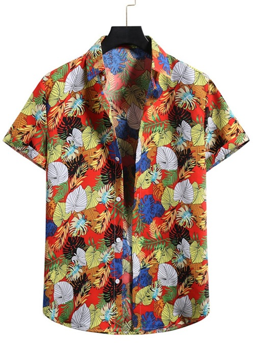 Ericdress Casual Lapel Floral Men's Slim Single-Breasted Shirt