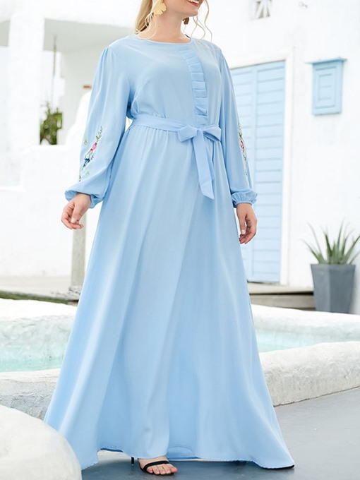Ericdress Round Neck Patchwork Floor-Length Spring Casual Dress Plus Size