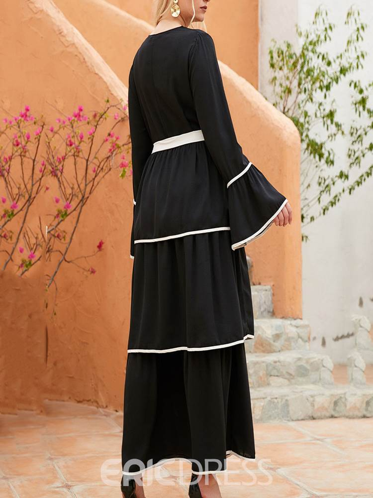 Ericdress Round Neck Ankle-Length Patchwork Casual Dress Plus Size