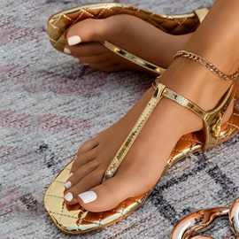 Ericdress Buckle Round Toe Flat With Thread Women's Sandals