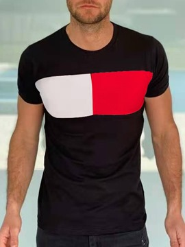 Ericdress Round Neck Color Block Casual Men's Slim Pullover T-shirt