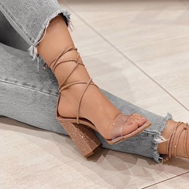 Ericdress Chunky Heel Open Toe Lace-Up Patchwork Women's Sandals